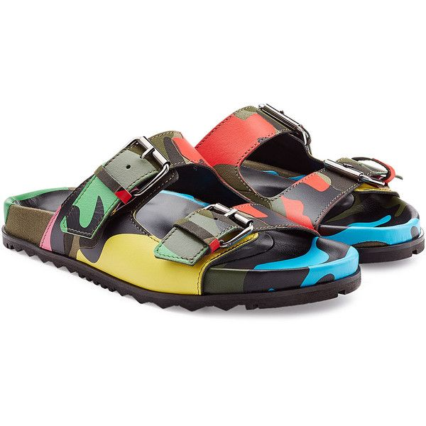 2449dd68e0592 Valentino Camouflage Print Leather Sandals ($627) ❤ liked on Polyvore  featuring men's fashion,