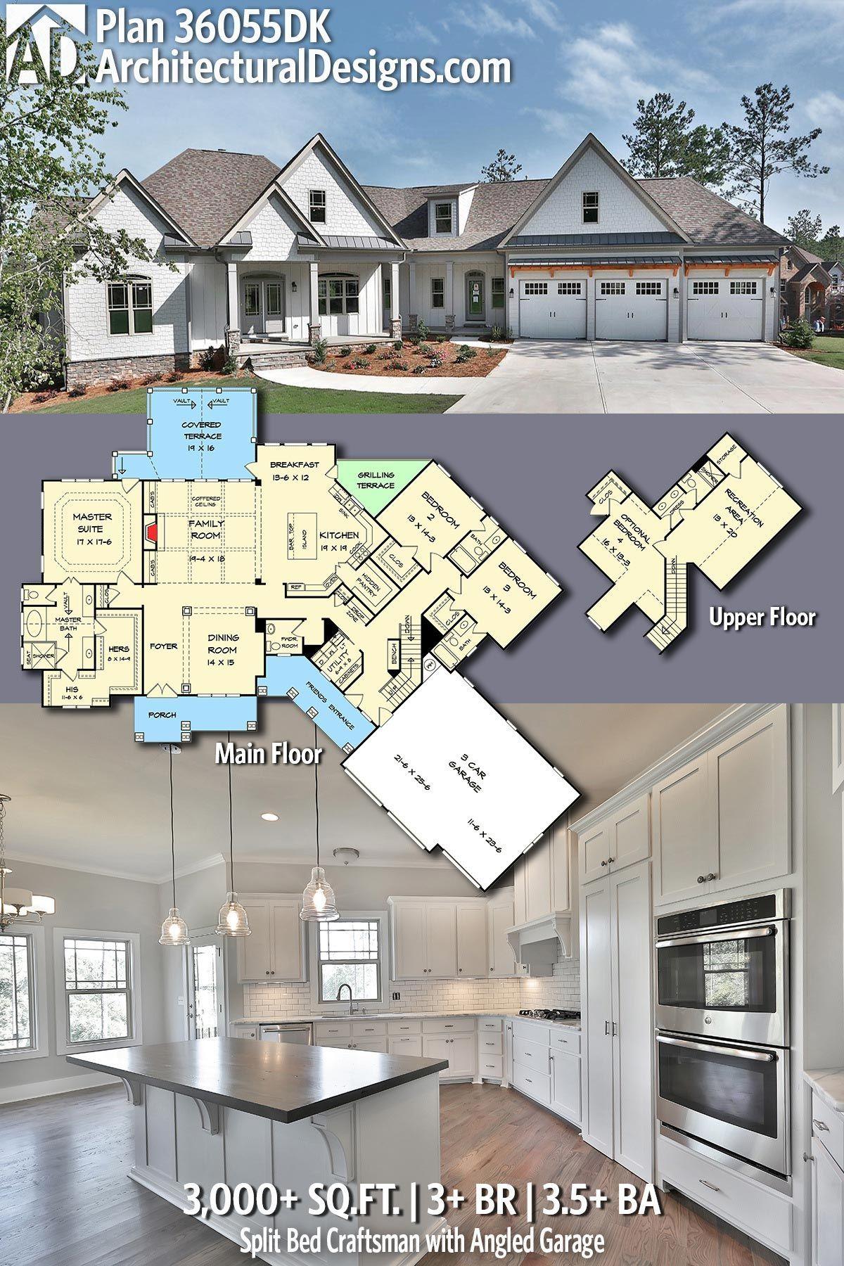 Plan 36055dk Split Bed Craftsman With Angled Garage Craftsman House Craftsman House Plan Dream House Plans