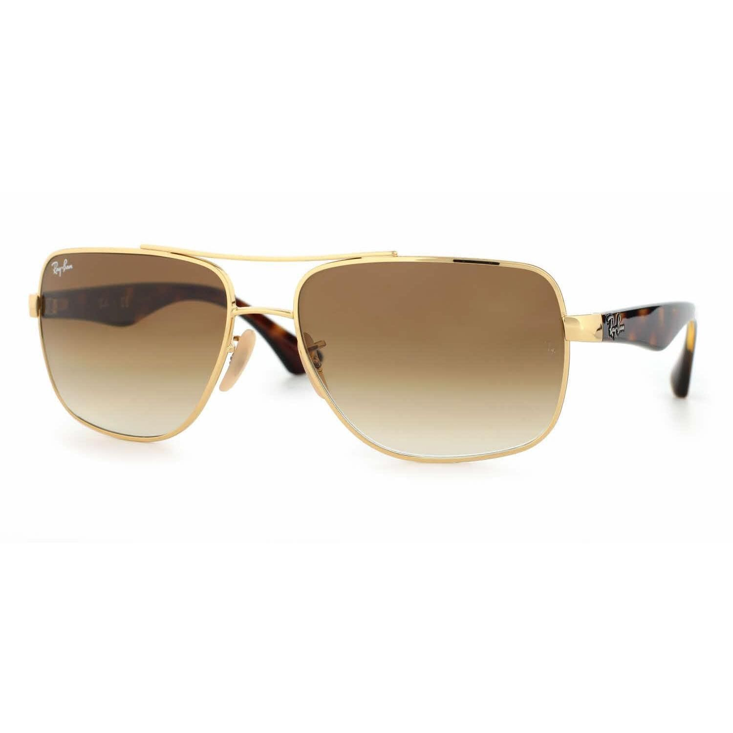 aab9575ed7f Ray Ban Mens RB3483 001 51 Gold Metal Square Sunglasses - Brown ...