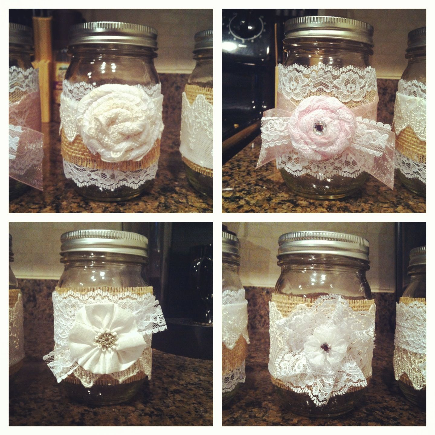 DIY mason jars + lace + burlap = candle/flower holder