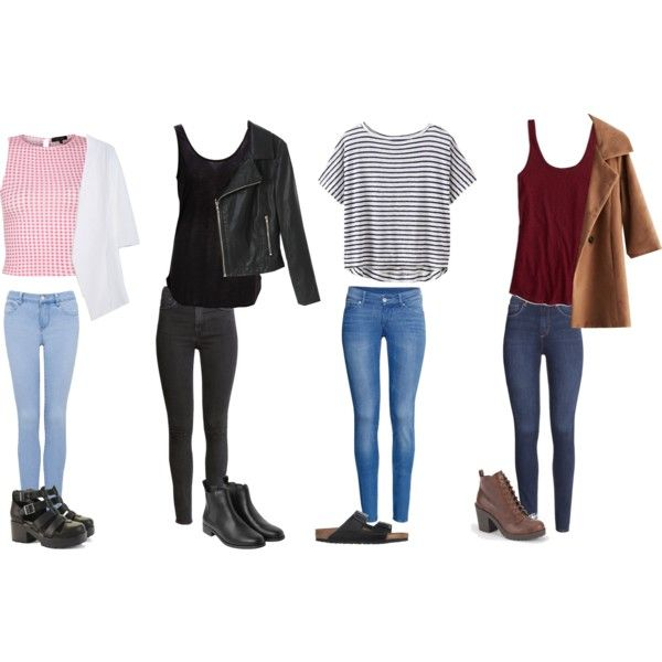 First Day Of High School Outfit Ideas by samsus on Polyvore. I like the  different outfits but I personally wouldn\u0027t have chosen the pink top in the  first