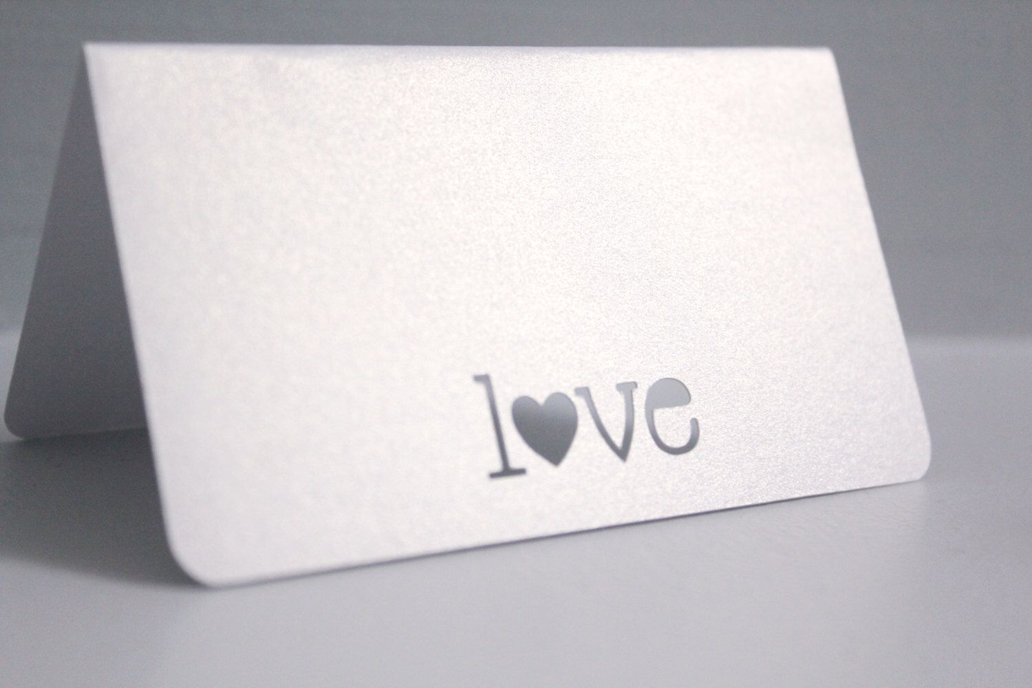 Metallic white tent cards, Love place card, Wedding escort cards ...