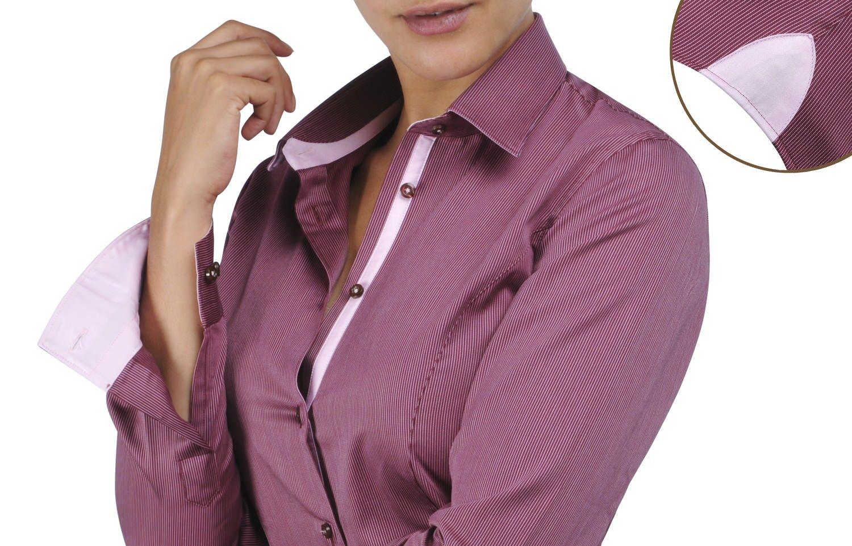 WOMEN - Pink lining reddish striped shirt, - Dress Shirts for Men - French-Shirts.com