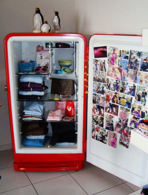 How To Recycle Old Refrigerator Old Refrigerator Refrigerator Makeover Vintage Fridge