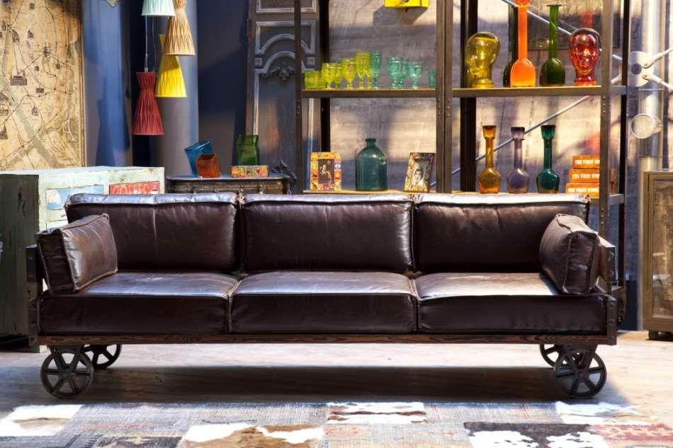 Vintage Sofa Railway Leder 3 Sitzer Von Kare Möbel