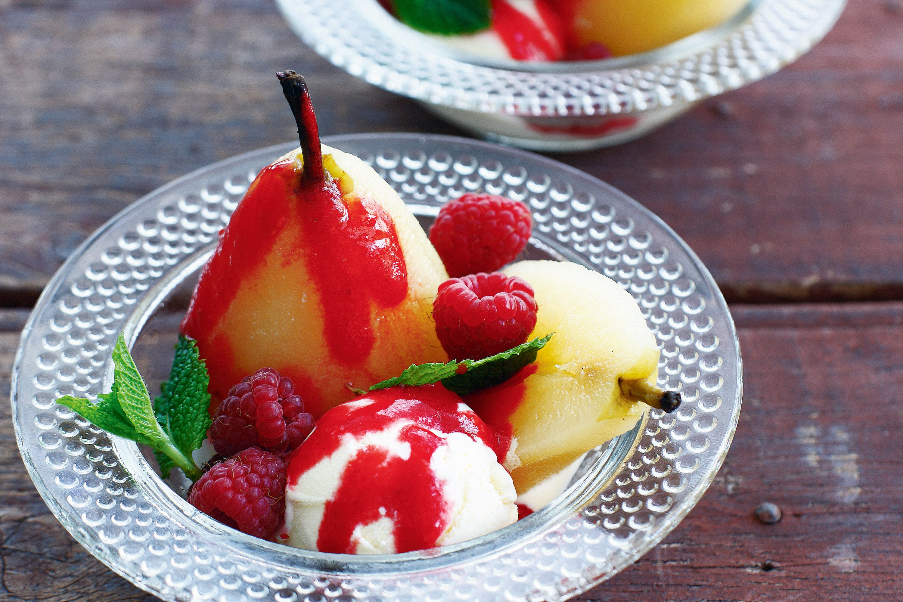 Poached Pears with Raspberry Coulis  Whipped Cream