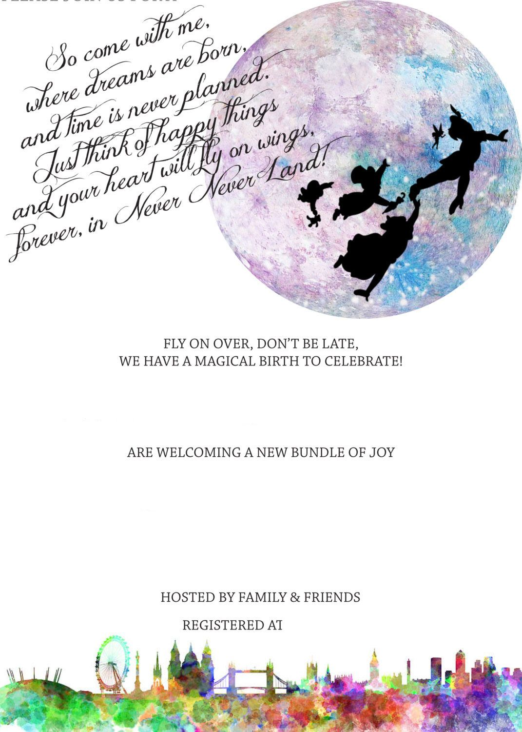 Download FREE Template Free Printable Peter Pan In Neverland Baby - Baby shower invitations templates download free