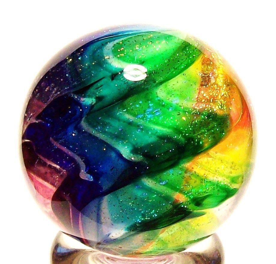"EDDIE SEESE GLASS 1-3/8"" EXOTIC DICHROIC LOBED RAINBOW MARBLE"