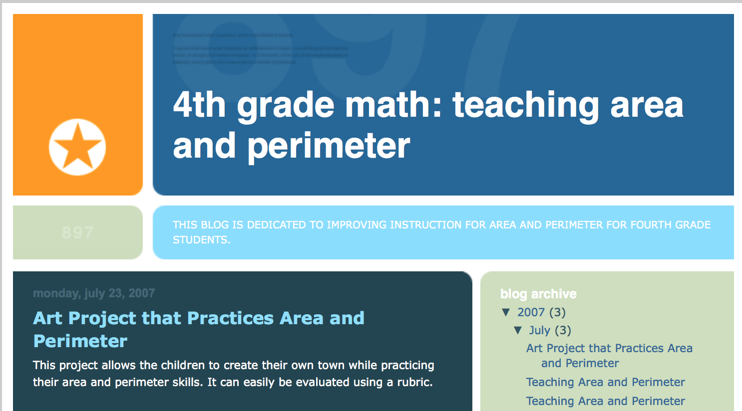 Blog post with lesson plan: students use area and perimeter to ...