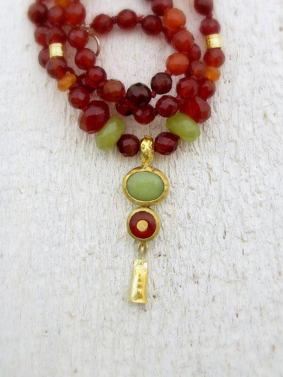 Carnelian Fine Gold Necklace. 24k Solid Gold Carnelian & Serpentine Necklace
