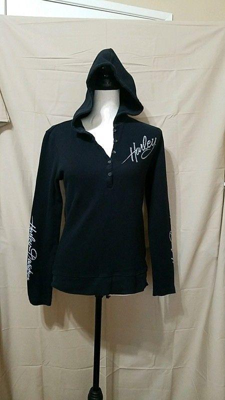 1d52fca6ef2b4 Harley Davidson Black Long Sleeve Hooded Thermal Shirt L