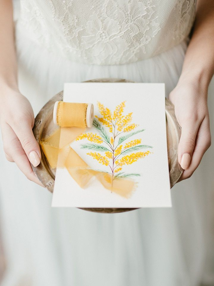 Yellow Mimosa Flowers Inspired Wedding Shoot { Plenty of ideas for Spring brides }