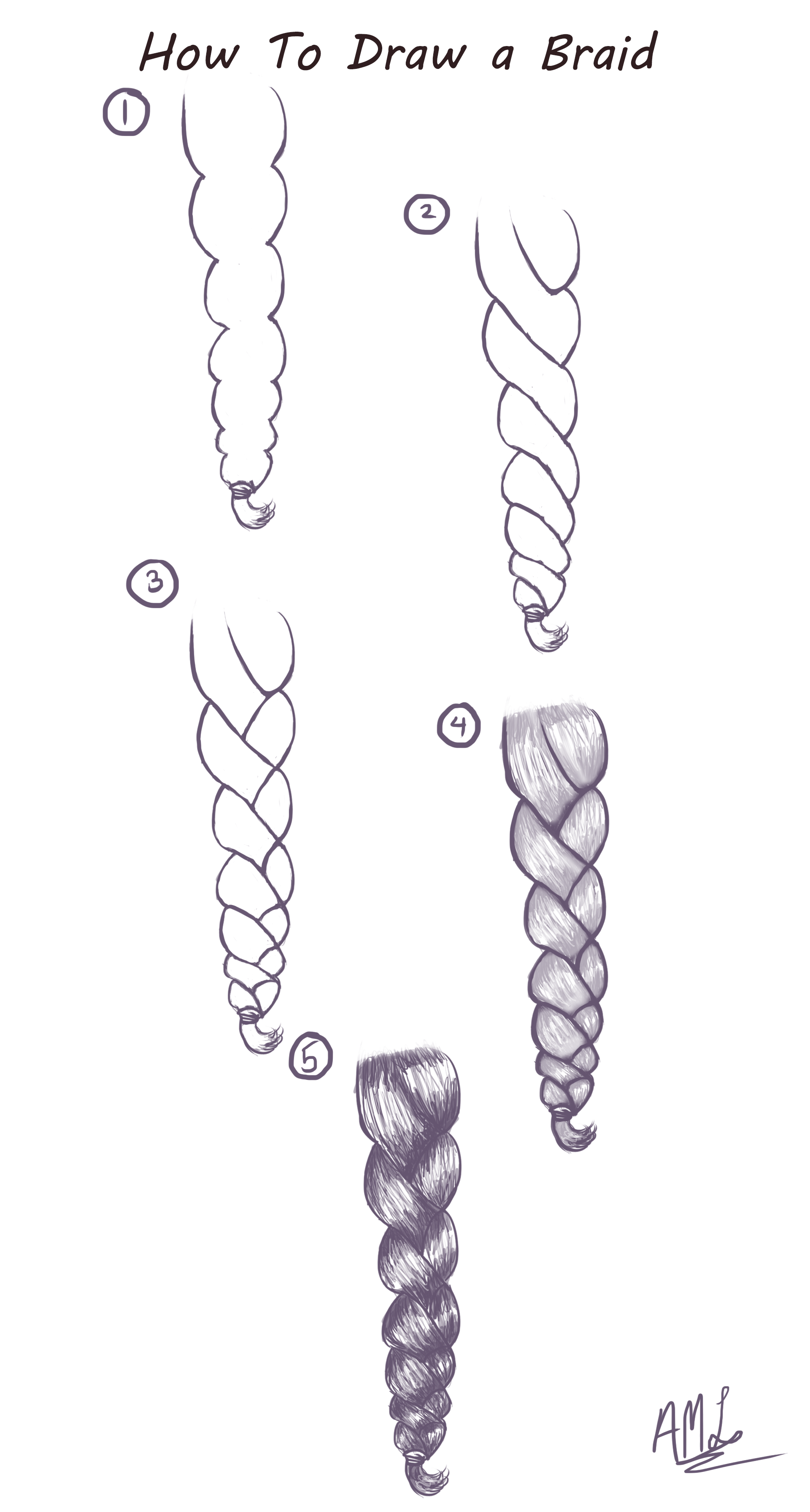How To Draw a Braid Here is a quick and easy Tutorial on how to draw a Braid Drawn by Starlas Art Studio YT