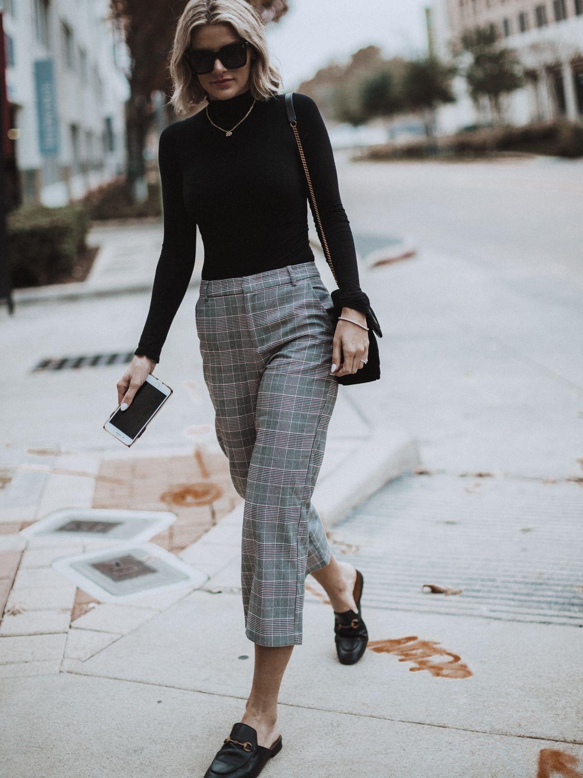 trending plaid pants  work outfits women plaid pants