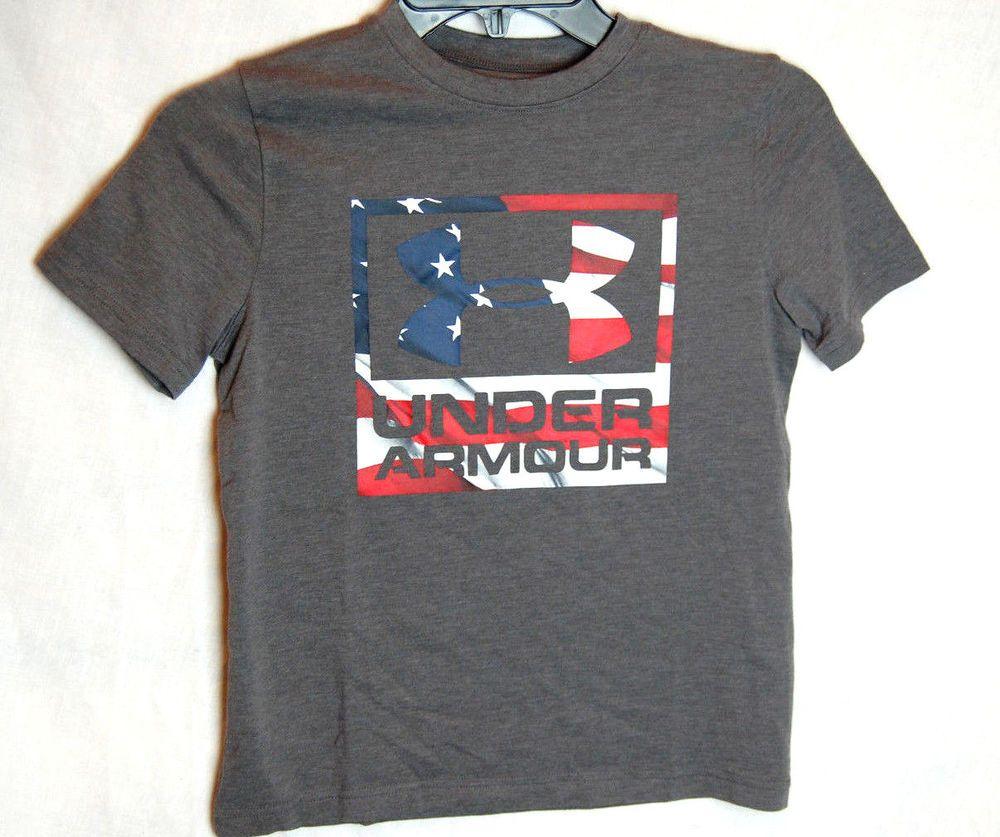 faa2f689 Under Armour Big Logo Flag T-Shirt Size Small Youth YSM Boys Gray New NWT  #Underarmour