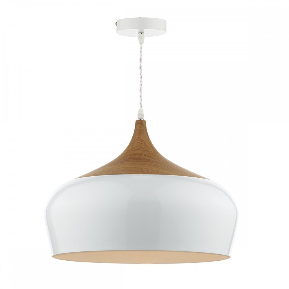 Dar Lighting GAU8602 Gaucho Large White Pendant | House shizzze ...:Dar Lighting Gaucho Single Light Large Ceiling Pendant in White with with  Wood Detail,Lighting