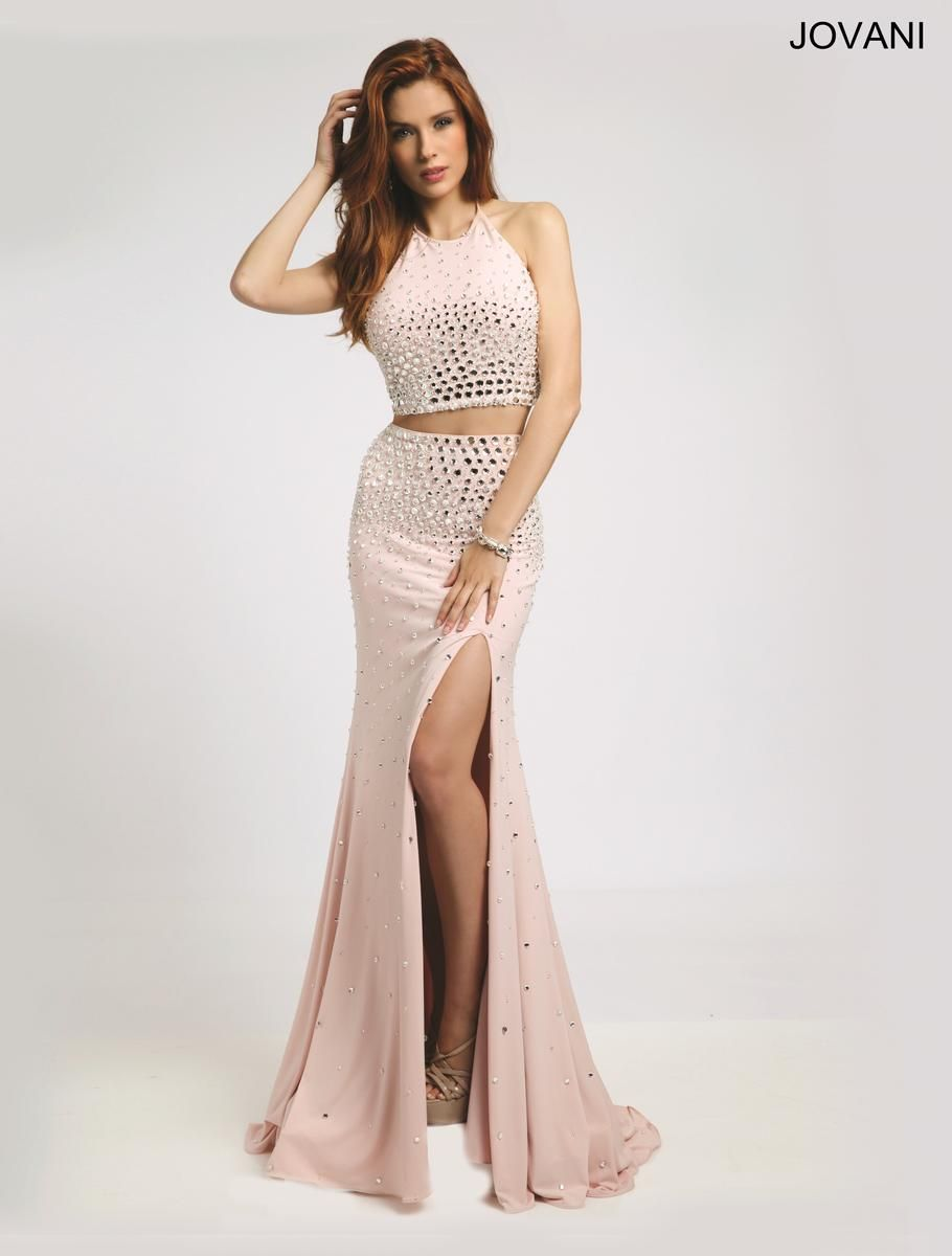 Jovani- 20018 Sexy fitted two piece halter prom dress features a ...