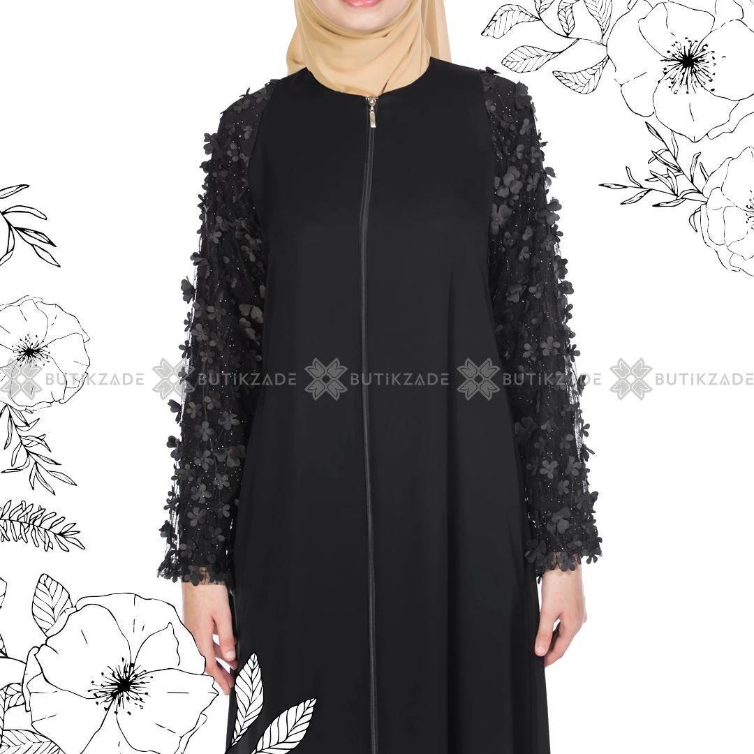 Kolu Cicekli Tullu Ferace Siyah Kadin Giyim Elbiseler Elbise