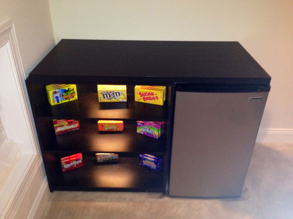 Quick And Easy Diy Concession Stand With Fridge Home Theater