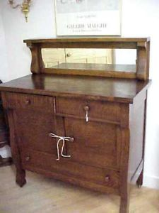 Antique Buffet With Mirror >> Antique Tiger Oak Sideboard Buffet W Mirror Furniture
