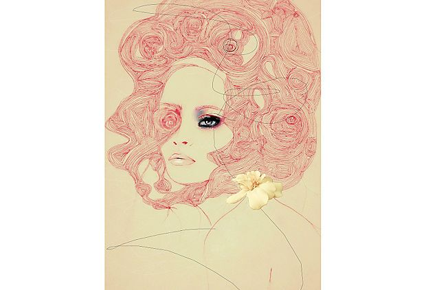 We could totally see this gorgeous fashion illustration on a salon-style wall in Domino.