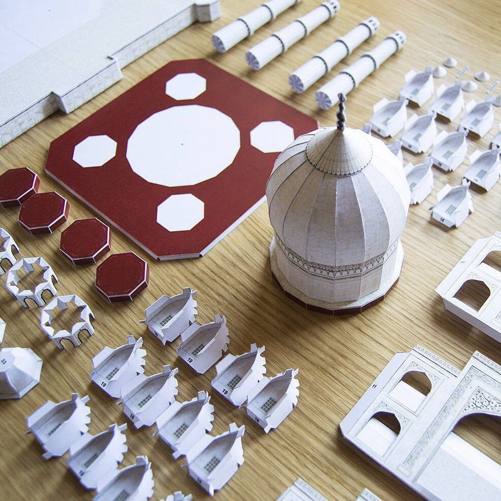 Taj mahal india architecture paper model kit back to for Do it yourself architectural drawings