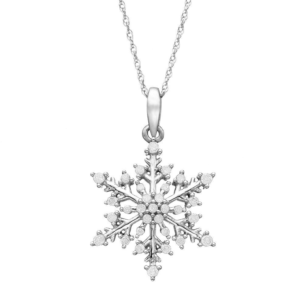 1 4 Carat T W Diamond 10k White Gold Snowflake Pendant Necklace