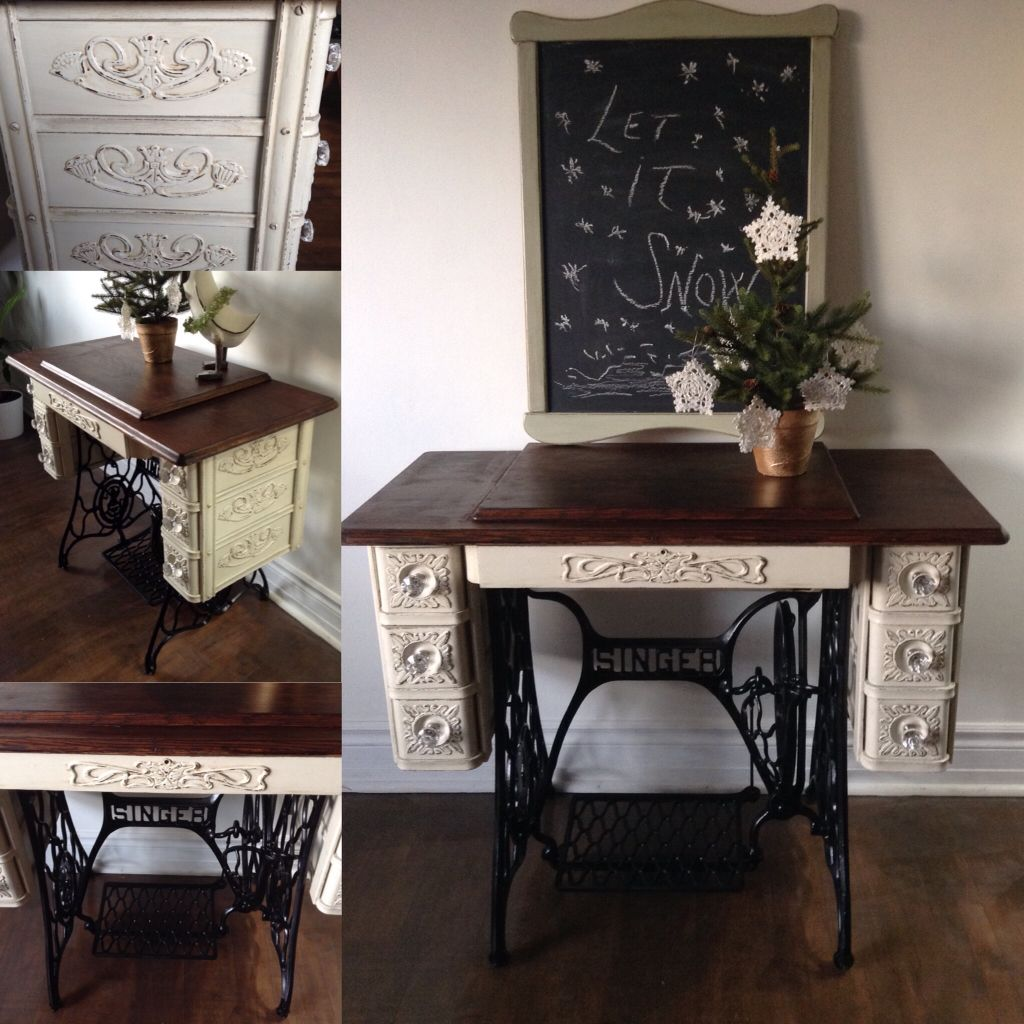 Singer Sewing Machine Table chalk painted , distressed and ...