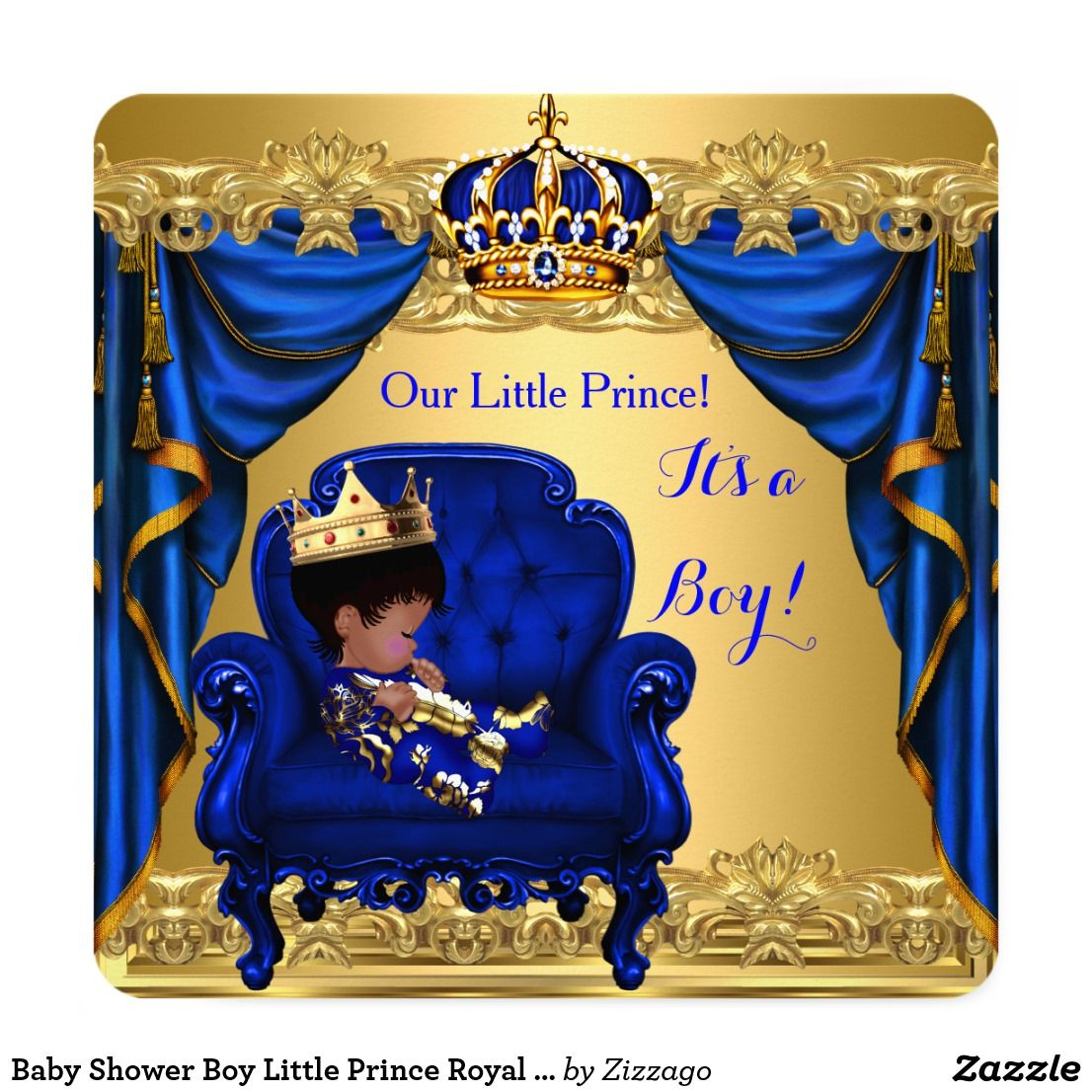baby shower boy little prince royal blue golden card | boys, Baby shower invitations