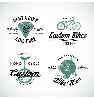 Set of retro bicycle custom and rental vector 4435742 - by createvil on VectorStock®