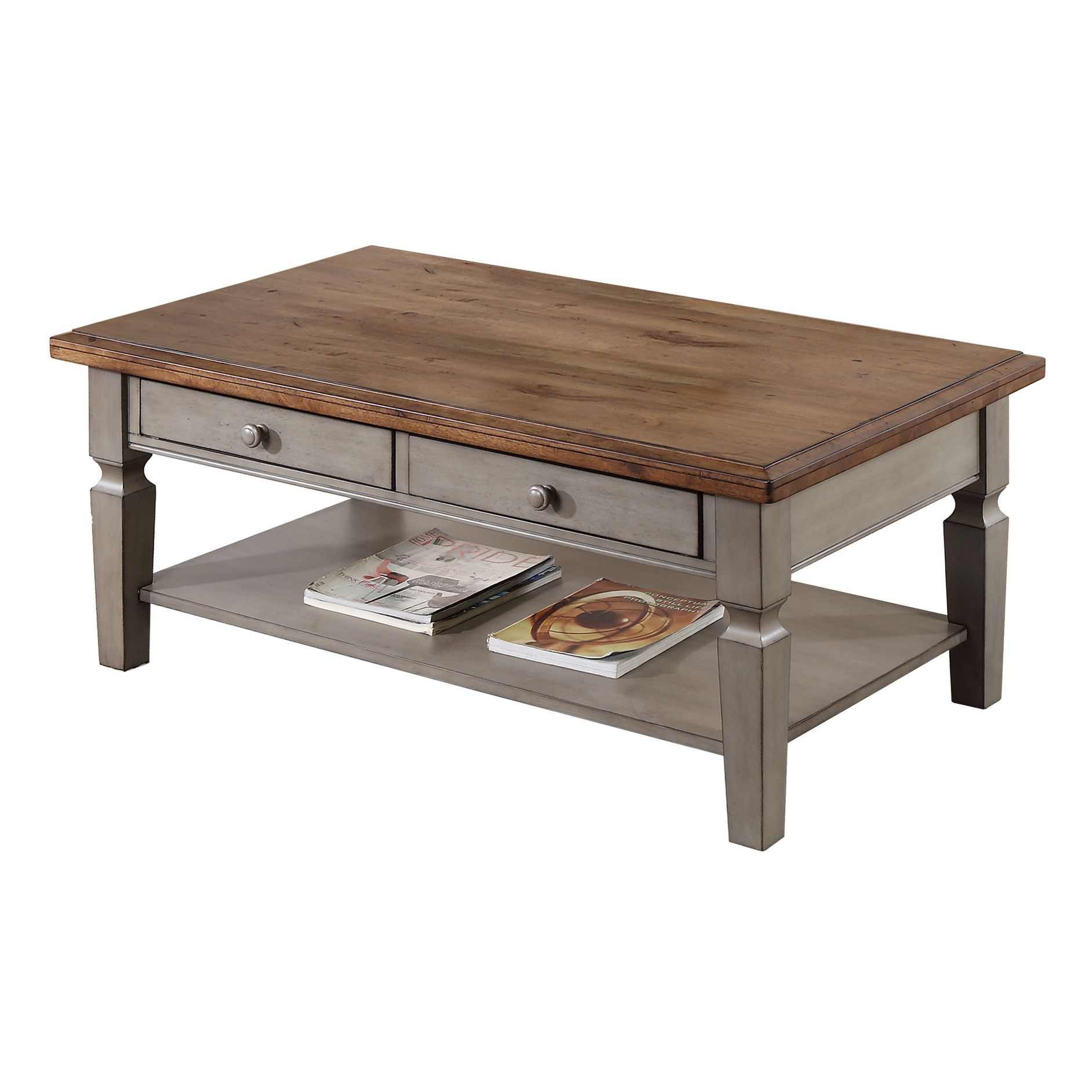 August Grove Reg Murtaugh Coffee Table Solid Wood Coffee Table Country Style Coffee Table Coffee Table With Shelf [ 1884 x 1884 Pixel ]