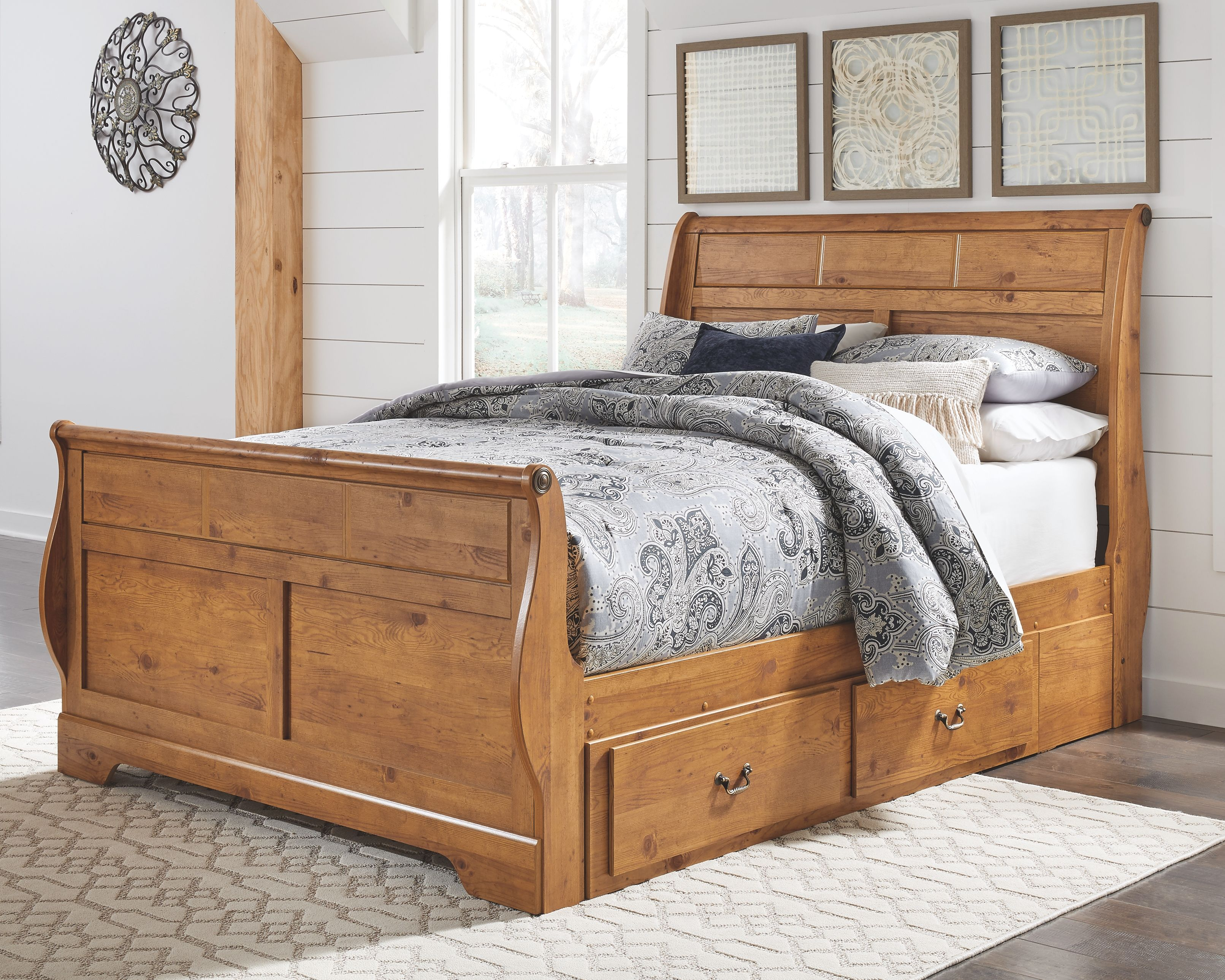- Bittersweet Queen Sleigh Bed With 2 Storage Drawers Under Bed