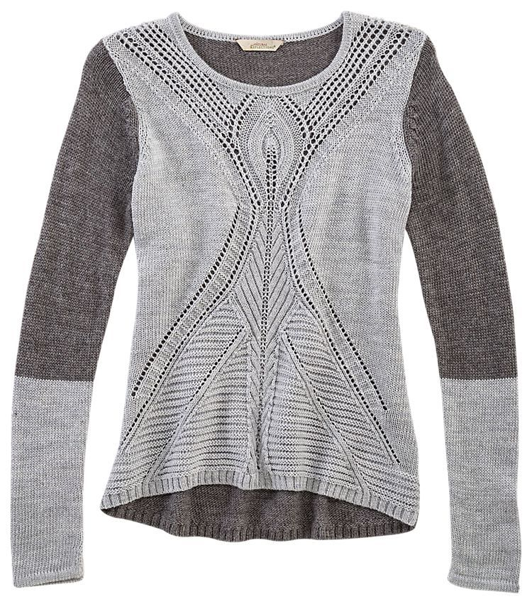 Natural Reflections Colorblock Cable Knit Sweater For Ladies