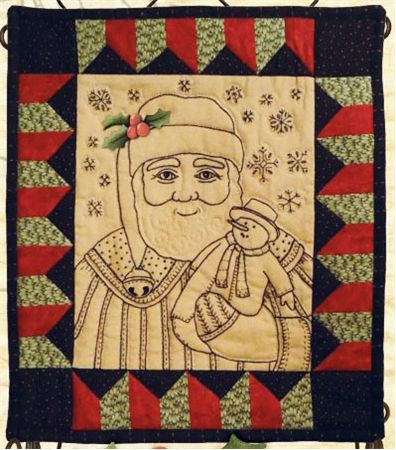 """Sweet Stitches Kit - Make Merry - December: Celebrate the holidays with jolly old St. Nick!  This festive Christmas themed embroidery kit which includes the pattern and all fabric to complete the kit measuring 13"""" X 15"""".  Embroidery floss not included."""