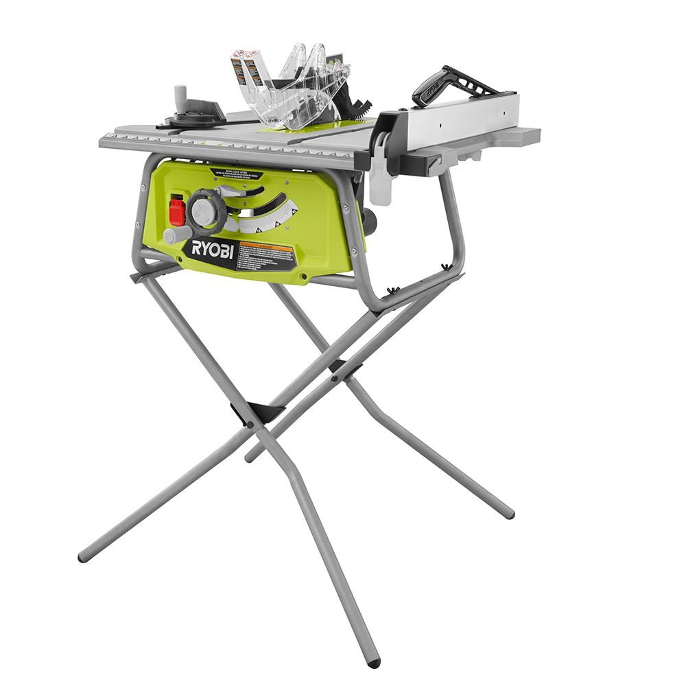 Ryobi 10 In Table Saw With Folding Stand 4 0 Out Of 5 Powerful 15 Amp Motor Quick Stand Included 3 Year Warr Ryobi Table Saw Portable Table Saw Table Saw