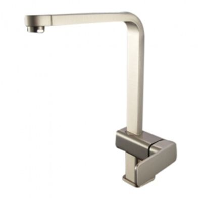 single handle nickel brushed centerset kitchen faucet