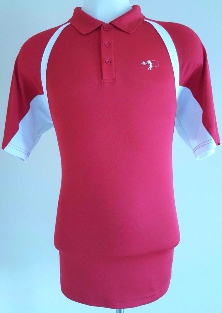 UNDER Armour RED Polo SHIRT Mens XL Size SZ White GOLF Heat GEAR Logo POLYESTER* #UnderArmour #PoloRugby