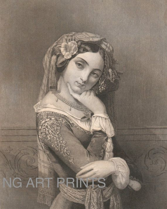 1840s Steel Engraving Portrait, The Grecian Exile, by NGArtPrints http://etsy.me/1mbwOQF via @Etsy