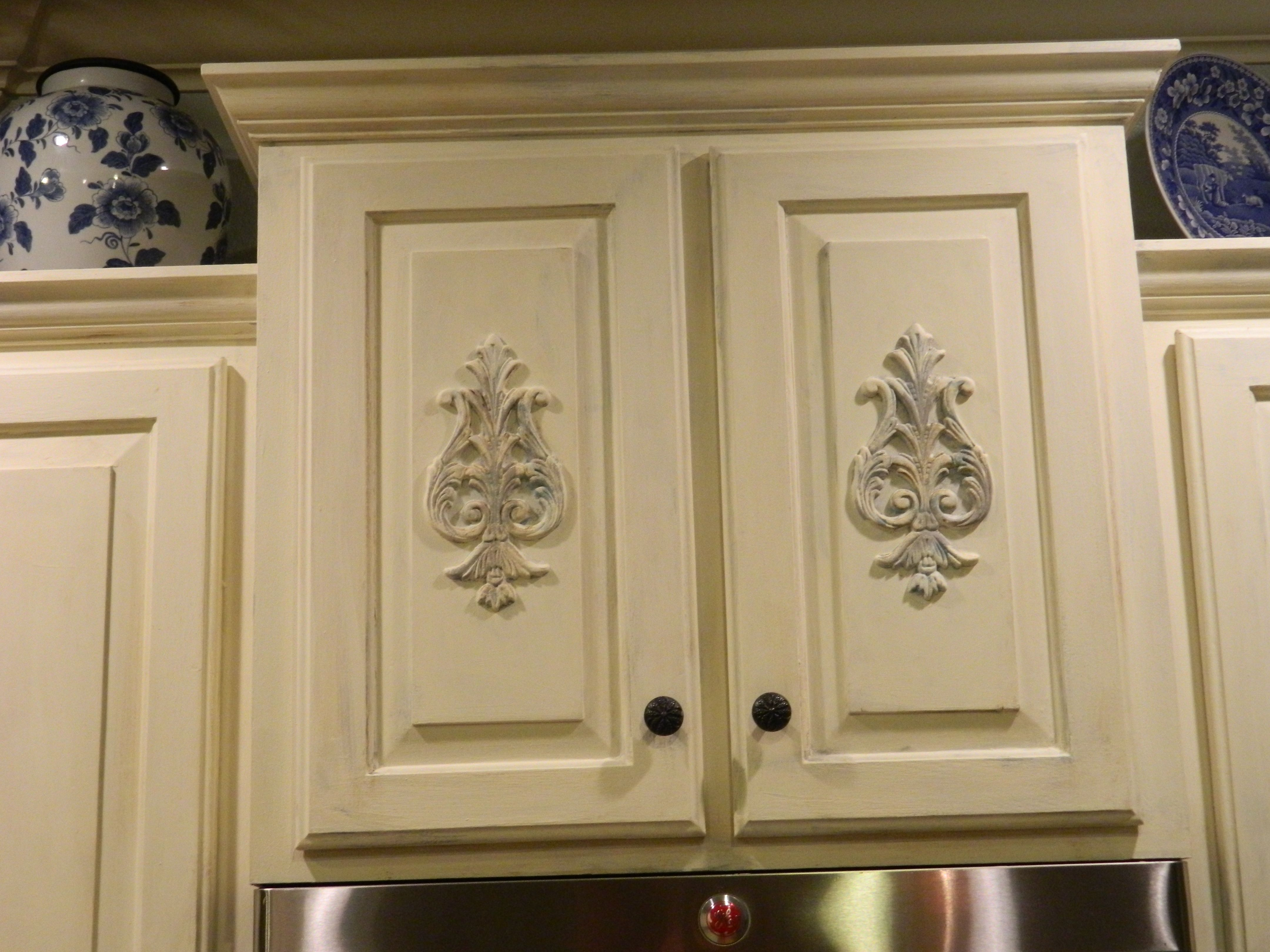 Plain Cabinets Updated With Architectural Details Kitchen Cabinets Painting Oak Cabinets Chalk Paint Kitchen Cabinets