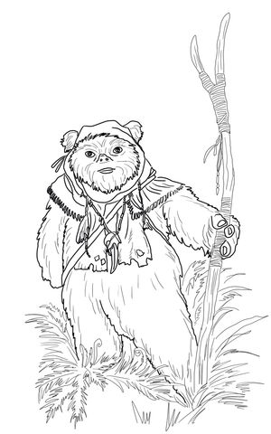 Ewok Coloring page | LineArt: Star Wars | Pinterest