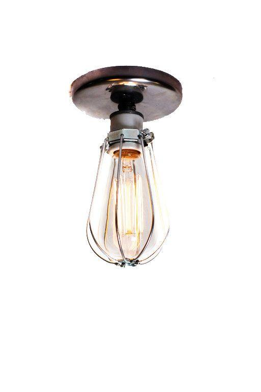 Industrial Bare Bulb Caged Light Ceiling Flush Mount
