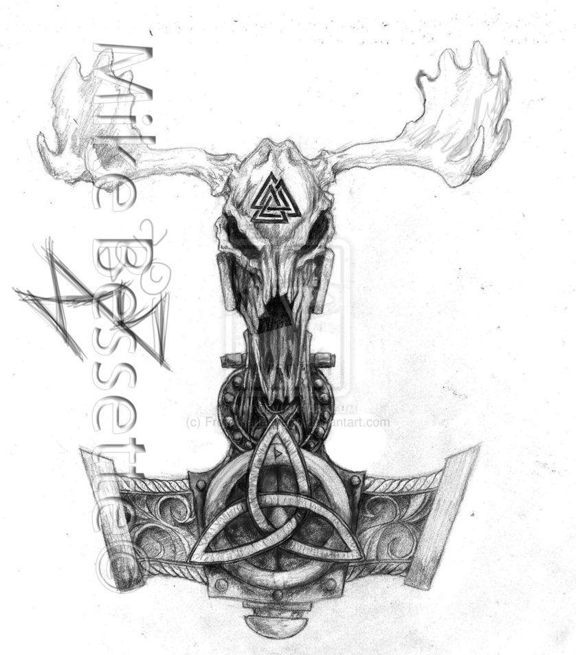 skull mjolnir tattoo pinterest tattoo tatoo and norse tattoo. Black Bedroom Furniture Sets. Home Design Ideas
