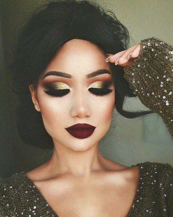 Festive Gold Glittery Eye Makeup Dramatic Look Pretty Makeup
