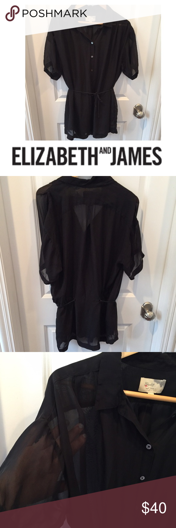 Elizabeth and James 100% Silk Black Sheer Tunic Elizabeth and James 100% Silk Black Sheer Tunic. 18 inch bust. 32 inches long . Tie. Great condition. Feel free to make an offer or bundle & save! Elizabeth and James Tops Tunics