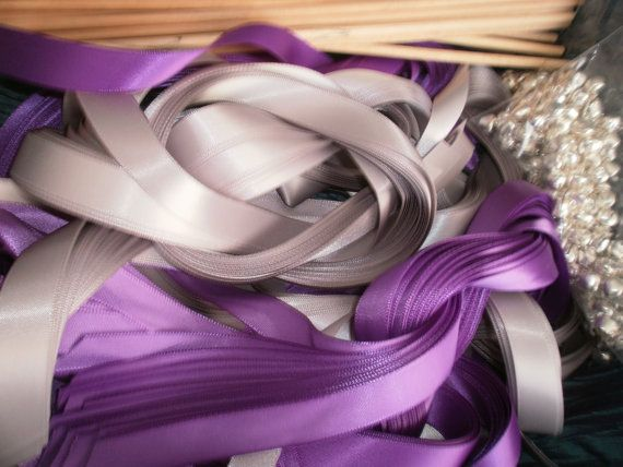 DIY Bride 75 TRIPLE Satin Ribbon Wands Lace Wedding NO Bell Customized To