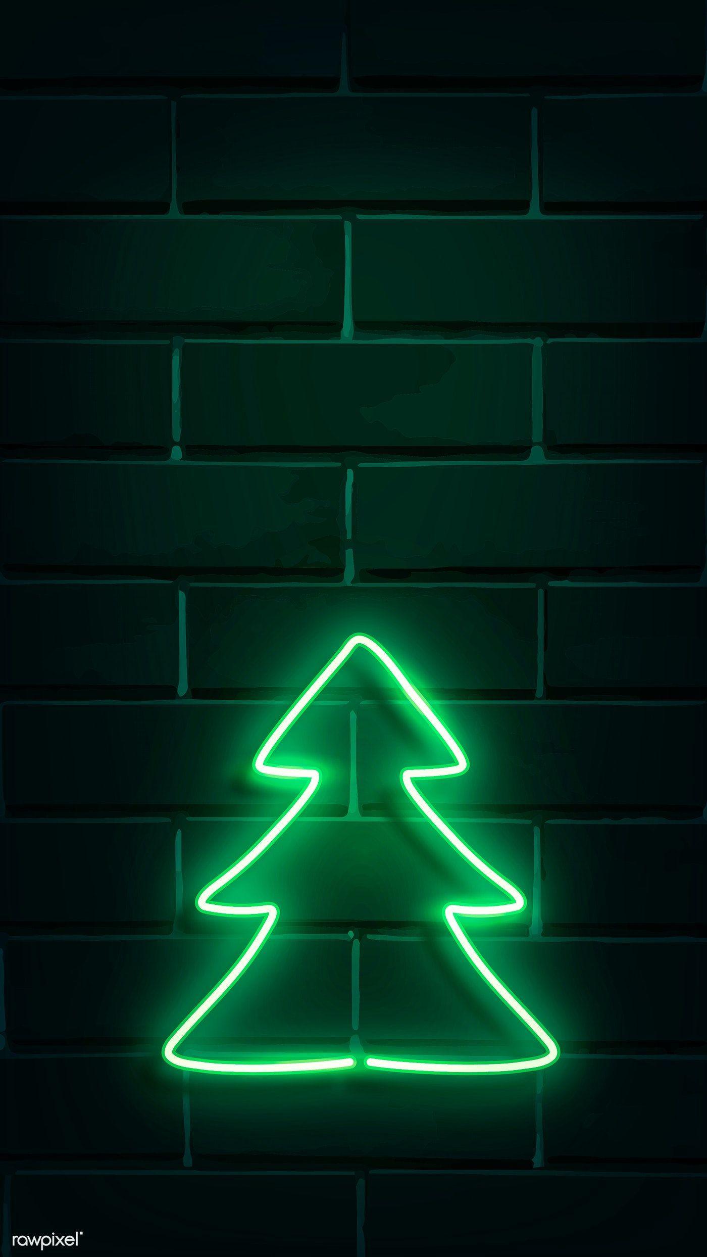 Christmas Tree Neon Sign On A Dark Brick Wall Vector Premium Image By Rawpixel Com Ningzk V 32158522 Isikli Tabelalar Yilbasi Duvar Kagidi Neon Aydinlatma