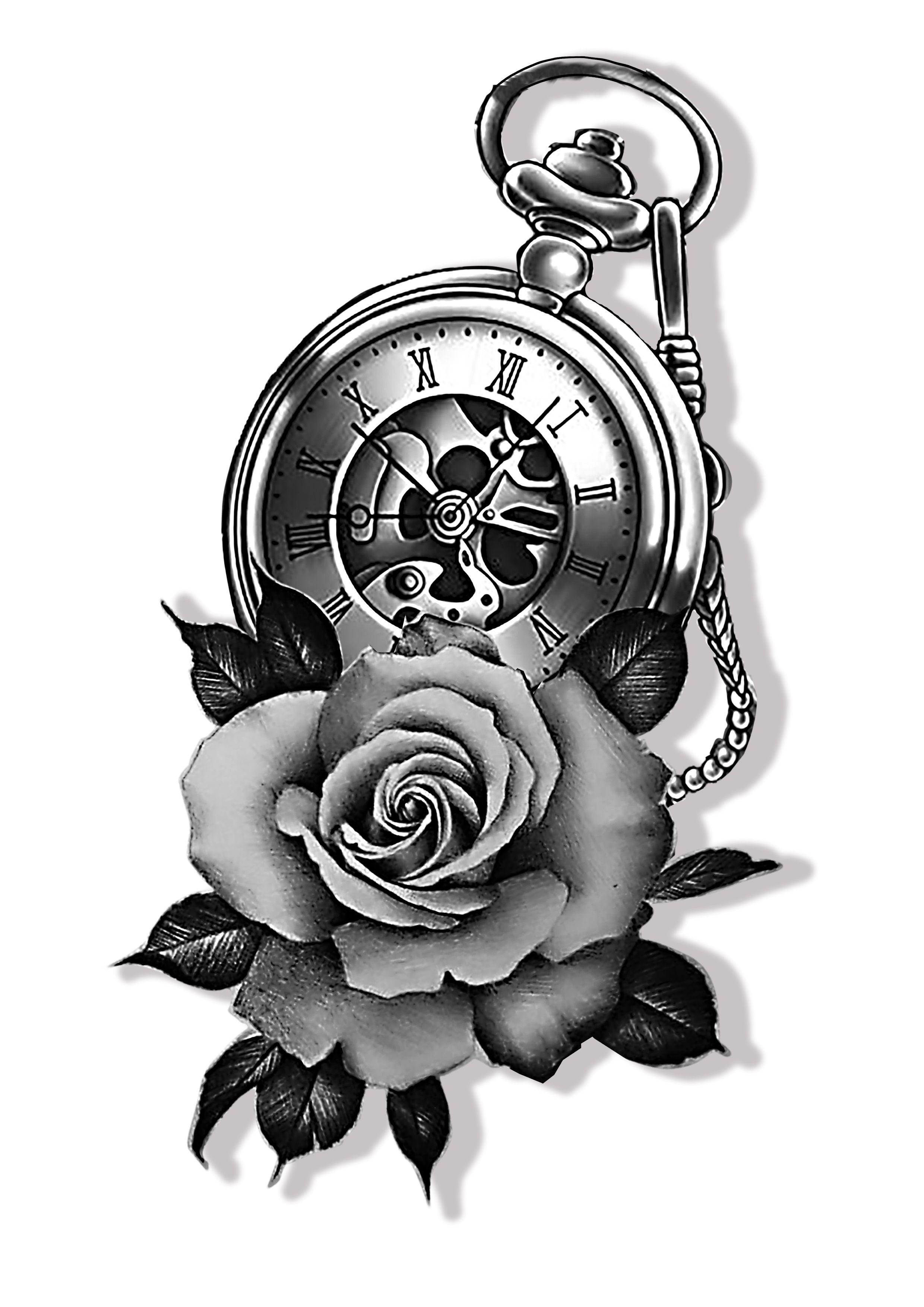 Time Piece Clock Tattoo Design Clock Tattoo Pocket Watch Tattoo Design