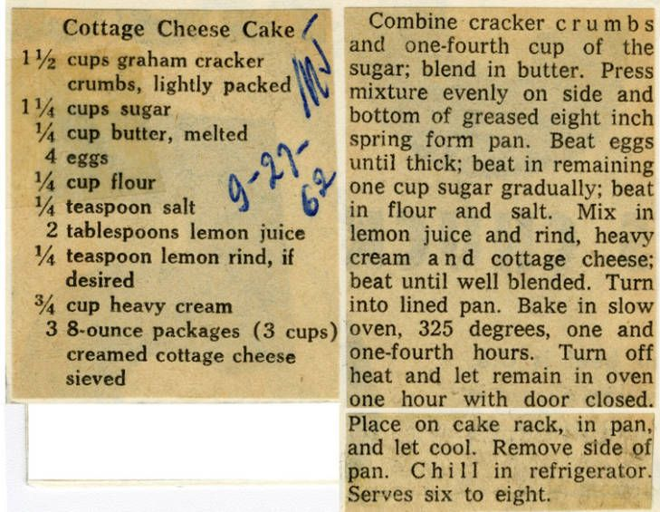 Cottage cheese cake historic recipe collections hosted
