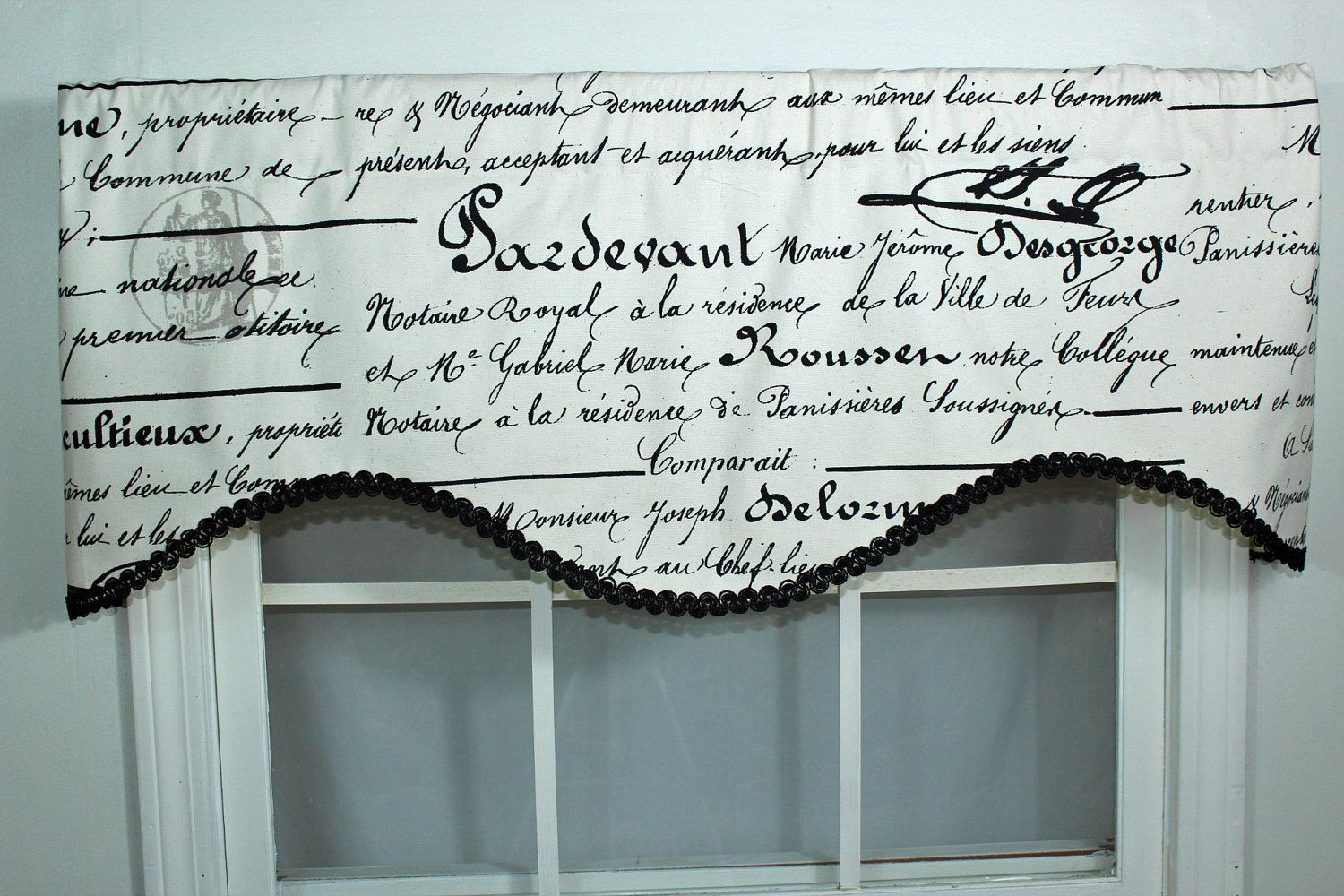 French Script Curtain Valance With Decorative Trim Valance Valance Curtains Tuscan Kitchen