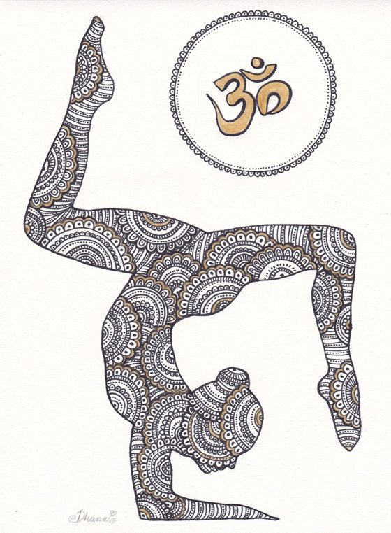 Golden Om Symbol Paisley Zentangle Painting Yoga By DHANAdesign